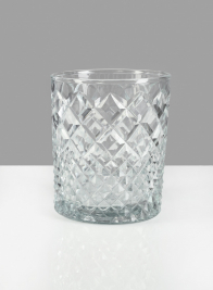 4 X 4 3/4in Diamond Cut Glass Round Vase
