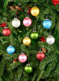 2in Matt Multi Color Glass Ball Ornament, Set of 12