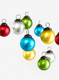 2in Matt Multi Color Glass Ball Ornament, Set of 10