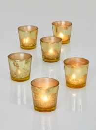 2 1/2in Antique Light Gold Tapered Votive Holder, Set of 6