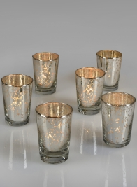antique tapered mercury glass votive holders