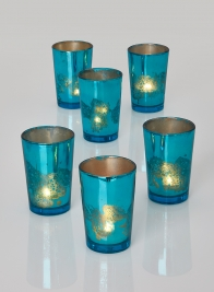 Antique Teal Tapered Votive Holder, Set of 6