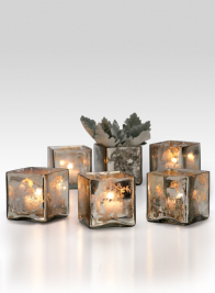 3in Antique Silver Glass Cube