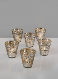 3in Antique Silver Embellished V Votive Holder, Set of 6