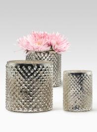 Antique Silver Hobnail Vases