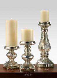 15in Antique Silver Glass Pillar Holder