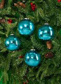 4in & 6in Antique Aqua Glass Ball Ornaments