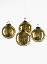 4in Antique Gold Glass Ornament Ball, Set of 4