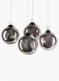 4in Antique Silver Glass Ornament Ball, Set of 4