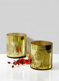 vintage look mercury glass gold vase