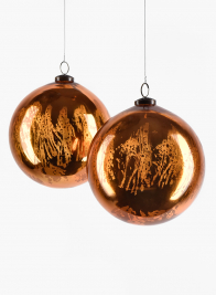 4in Antique Copper Glass Ball Ornament, Set of 4