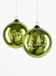 6in Antique Green Glass Ornament Ball, Set of 2