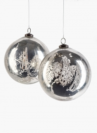 6in Antique Silver Glass Ornament Ball, Set of 2