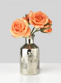 5 3/4in Branch Etched Antique Silver Bottle Vase