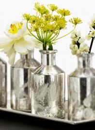 5 3/4in Palm Etched Antique Silver Bottle Vase, Set of 2