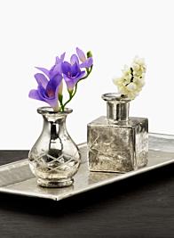 4in H Square Cut Work Antique Silver Bottle Vase