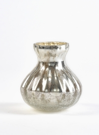 3 1/2in Antique Silver Half Crackle Bud Vase