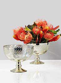 7 1/2in Etched Leaf Vintage Mercury Glass Bowl