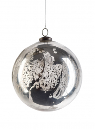 8in Antique Silver Glass Ornament Ball