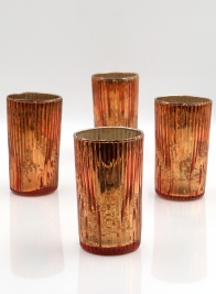 5in High Ribbed Antique Copper Votive, Set of 4