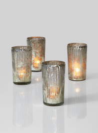 mercury glass ribbed votive candleholder