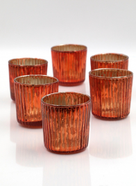 2 1/2in Ribbed Antique Copper Votives, Set of 6