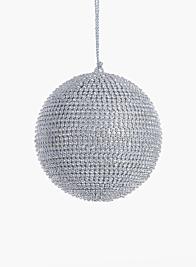 4in Silver Rhinestone Ball Ornament