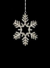 glass beaded snowflake Christmas ornament