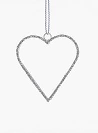 3in Silver Rhinestone Heart Ornament