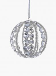 4in Silver Bead Diamond Ball Ornament