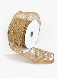 2 1/2in Gold Grid Ribbon