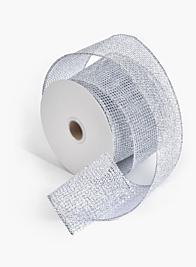 2 1/2in Silver Grid Ribbon