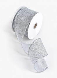 2 1/2in White & Silver Laser Glitter Grid Ribbon