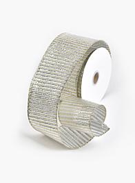 2 1/2in Gold Silver Horizontal Rib Ribbon