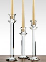Faceted Stem Crystal Candlesticks