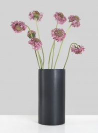 8in Matte Black Round Ceramic Vase