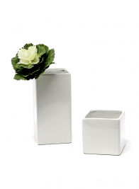 white gloss ceramic square cube vase