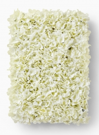 white hydrangea block wedding ceremony flower wall
