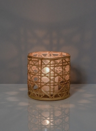 4 3/4in x 4 1/2in Saigon Cane Wrapped Glass Tea Light Holder