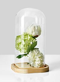 vintage look flower centerpiece in bell jar