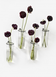Glass Tube Vase With Iron Ring, Set of 4