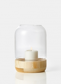 Small Wood Base Candle Hurricane