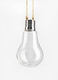 Glass Light Bulb Hanging Vases On Jute Cord