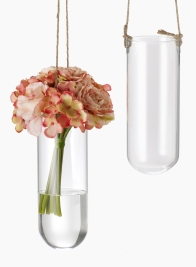 8 1/2in Hanging Glass Vase With Jute Cord