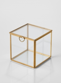 4in Gold Antique Glass Box (With Lid)