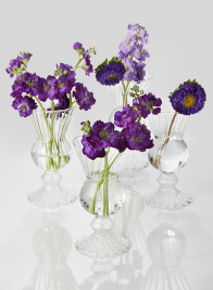 6in Optical Glass Mini Urn Vase, Set of 4