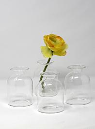 4 1/2in Short Bottle Bud Vase, Set of 4