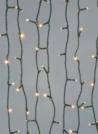 200 Warm White LED Lights Set, Green Cord
