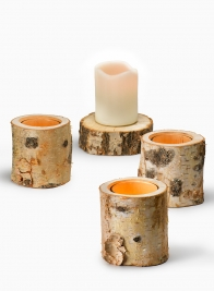 4in Birch Tea Light Holder With Glass Insert