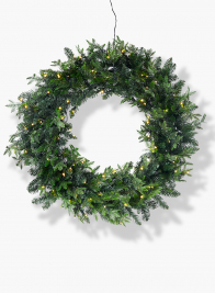 prelit faux pine Christmas wreath with 100 LED lights